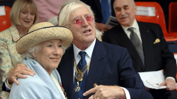 Jimmy Savile, right, and Vera Lynn in London, England on Sept. 18, 2005.