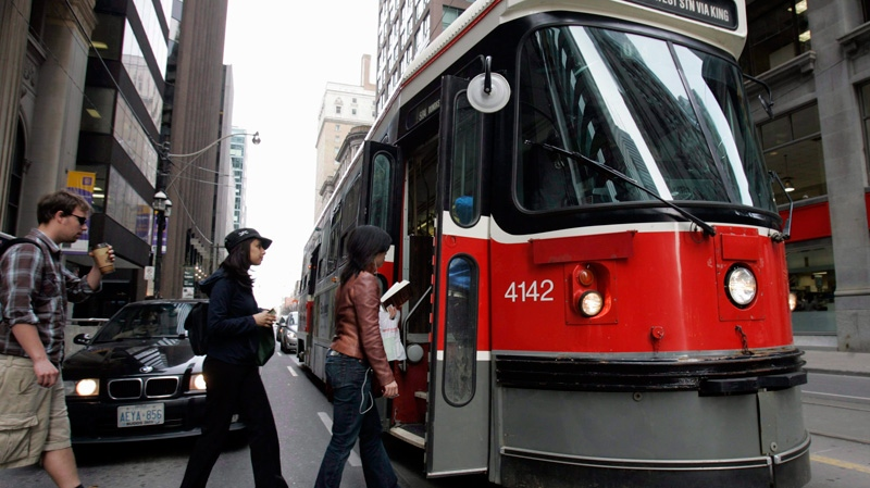 A TTC streetcar in downtown Toronto on Sunday, Apr. 27, 2008. (J.P. Moczulski / THE CANADIAN PRESS)