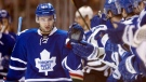 Toronto Maple Leafs centre Nazem Kadri is congratulated by teammates in Toronto on Jan. 19, 2012. (The Canadian Press/Frank Gunn)