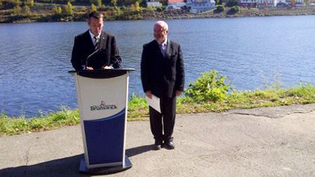 New Brunswick Environment and Local Government Minister Bruce Fitch and MLA Wes McLean announce Perth-Andover's flood relocation project.
