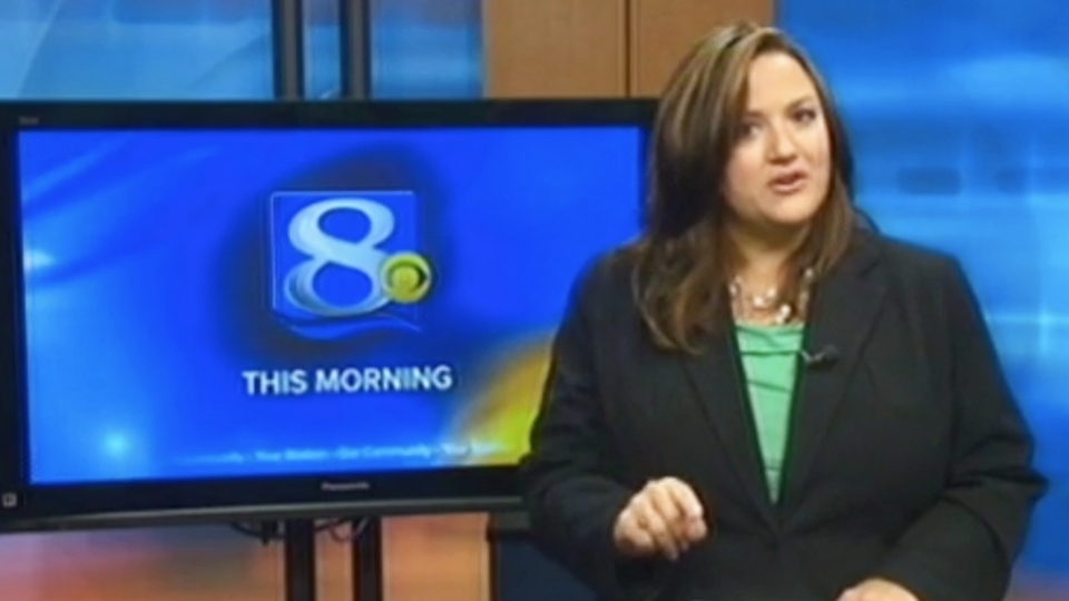 This frame grab provided by WKBT-TV in La Crosse, Wis., shows television anchorwoman Jennifer Livingston Tuesday, Oct. 2, 2012, during her broadcast responding to a viewer who wrote her an email criticizing her weight. (AP/Courtesy WKBT-TV)