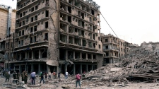 Buildings where three bombs exploded in Saadallah al-Jabri square, Aleppo, Syria on Oct. 3, 2012.