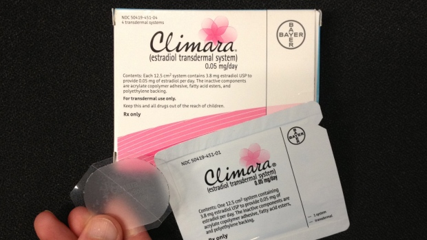 This Tuesday, Oct. 2, 2012 photo shows Bayer's Climara low-dose estrogen skin patch. A new study may