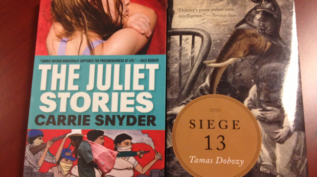 The covers of The Juliet Stories by Carrie Snyder and Siege 13 by Tamas Dobozy are seen in this image taken Tuesday, Oct. 2, 2012.