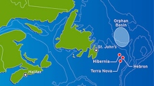 In the mile-deep waters off Newfoundland, 260 miles northeast of St. John�s, Chevron started the Lona O-55 well May 10 and finished it about a month ago. (Map courtesy of Chevron Canada)