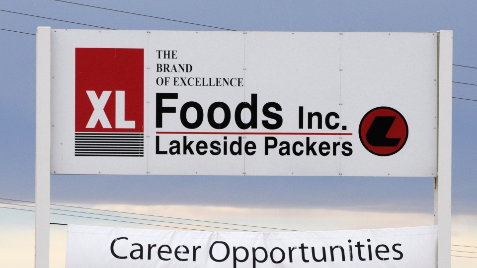 Main entrance sign for XL Foods' Lakeside Packers plant at Brooks, Alta. on Monday, Oct. 1st, 2012, 2012. (Larry MacDougal / THE CANADIAN PRESS)