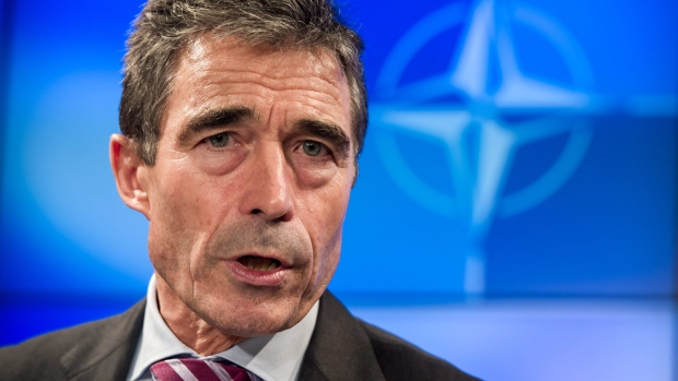 NATO Secretary General Anders Fogh Rasmussen speaks during the monthly NATO media briefing in Brusse