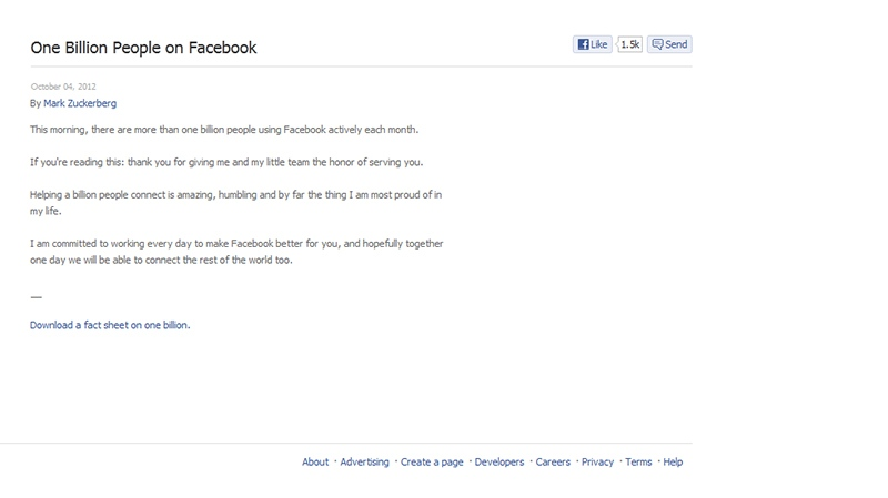 Mark Zuckerberg's Facebook post after reaching one-billion users.