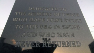 A memorial dedicated to fishermen from the town of Lunenburg, N.S., who lost their lives in the Atlantic, is a reminder to the teens that sometimes going to sea can end in disaster.