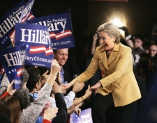 Democratic presidential hopeful Sen. Hillary Rodham Clinton, D-N.Y., greets supports as she enters her Super Tuesday primary night rally in New York, Tuesday, Feb. 5, 2008. (AP / Carolyn Kaster)