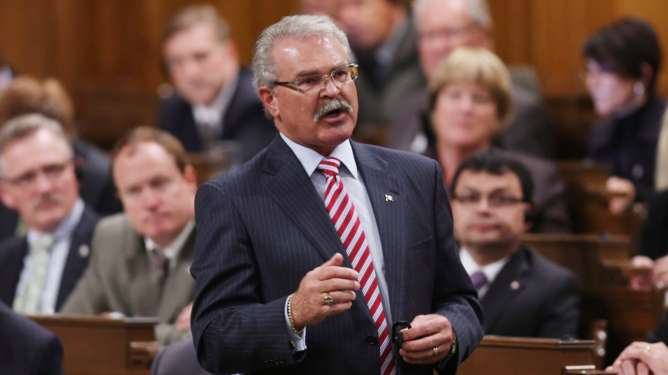 Agriculture Minister Gerry Ritz stands in the House of Commons during question period in Ottawa, Thursday, Oct. 4,2012. (Fred Chartrand / THE CANADIAN PRESS)