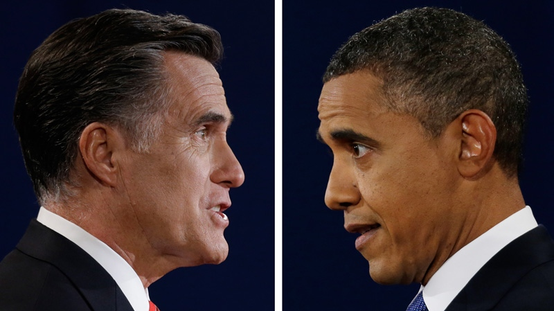 Republican presidential nominee Mitt Romney and President Barack Obama speak during their first presidential debate at the University of Denver, Colo., Oct. 3, 2012. (AP / David Goldman, Eric Gay)