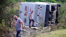 Tour bus from Toronto overturns in New Jersey