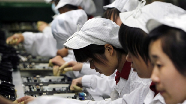 Foxconn workers in Shenzhen, China.