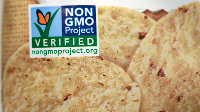 A product labeled with Non Genetically Modified Organism (GMO) is sold at the Lassens Natural Foods & Vitamins store in Los Feliz district of Los Angeles Friday, Oct. 5, 2012. (AP / Damian Dovarganes)