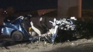 The twisted wreckage of a Toyota Corolla after it was struck head-on by a car travelling the wrong way on Highway 407 near Oakville, Ont. on Sunday, Oct. 7, 2012.