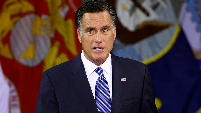 Republican presidential candidate and former Massachusetts Gov. Mitt Romney delivers a foreign policy speech at Virginia Military Institute (VMI) in Lexington, Va., Monday, Oct. 8, 2012. (AP / Charles Dharapak)