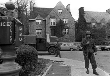 Soldiers took over guard duty, Oct. 16, 1970 at the Montreal home of British Trade Commissioner James Cross, one of the two political hostages whose kidnapping by the FLQ has brought on the use of the war emergency act measures in Canada, never before used during peace. THE CANADIAN PRESS/Staff