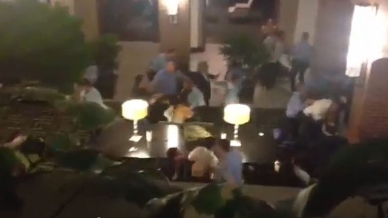 A massive brawl broke out at a wedding held in a downtown Philadelphia hotel. (YouTube)