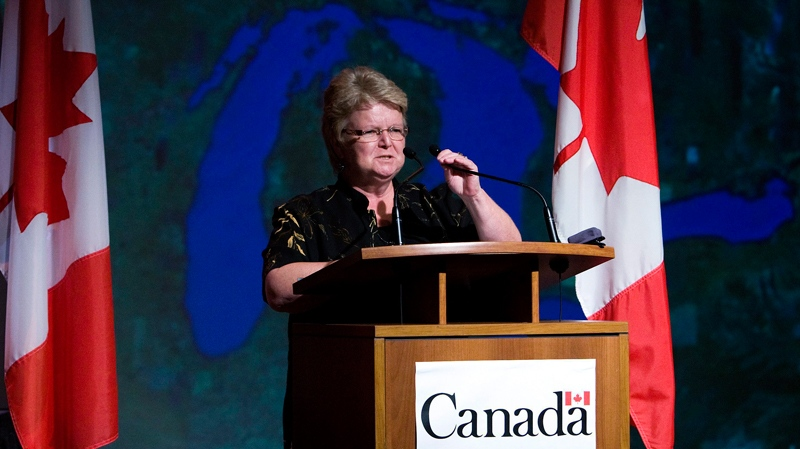 Minister of Fisheries and Oceans Gail Shea leaves the stage after talking about the proactive plan and potential threat Asian Carp pose to the Great Lakes, in Toronto on Tuesday, Oct. 5, 2010. (Nathan Denette / THE CANADIAN PRESS)