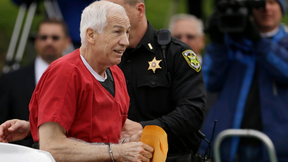 Former Penn State University assistant football coach Jerry Sandusky arrives at the Centre County Courthouse for a sentencing hearing Tuesday, Oct. 9, 2012, in Bellefonte, Pa. (AP / Matt Rourke)