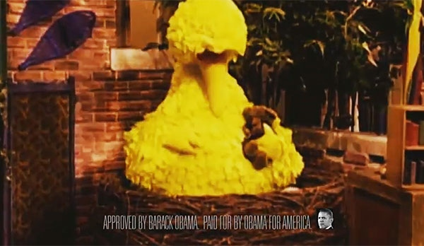 This image taken from video shows Big Bird in a new ad from Barack Obama's election campaign.