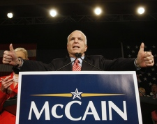 Republican presidential hopeful Sen. John McCain, R-Ariz., celebrates at his Super Tuesday primary election night party in Phoenix, Ariz. on Tuesday, Feb. 5, 2008. (AP / Charles Dharapak)