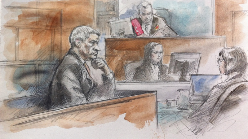 Accused Peer Khairi listens intently to a 911 recording in court presided over by Justice Clark at the 361 University Ave. courthouse in Toronto on October 9, 2012. (Sketch: Pam Davies)