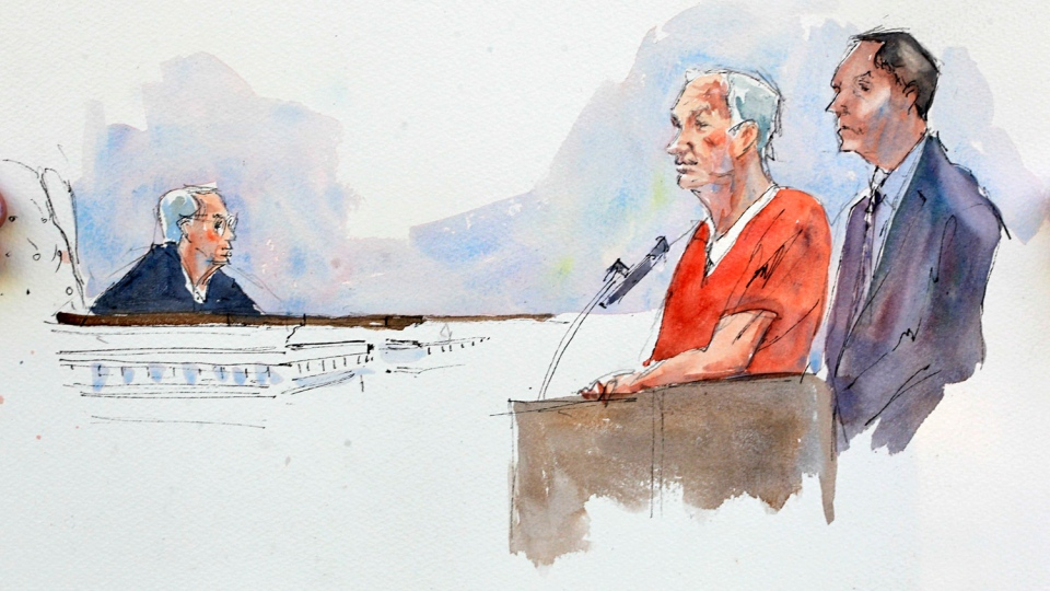In this courtroom sketch, Judge John Cleland, left, sentences former Penn State University assistant football coach Jerry Sandusky, second from right, as Sandusky's attorney Joe Amendola, right listens, at the Centre County Courthouse in Bellefonte, Pa., Tuesday, Oct. 9, 2012. (AP / Aggie Kenny)