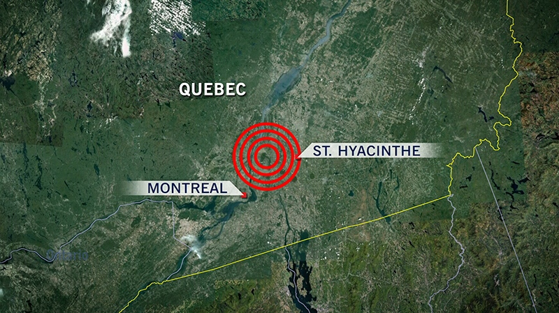 Map of the approximate location of the earthquake that rattled Montreal, early Wednesday, Oct. 10, 2012.