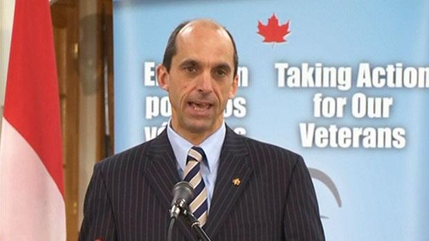 Veterans Affairs Minister Steven Blaney speaks about funding benefits for veterans, Wednesday, Oct. 10, 2012.
