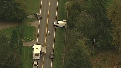 Police in Surrey, B.C., investigate a body discovered on a lawn on Oct. 7, 2010.