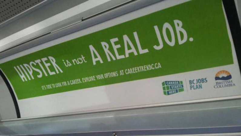 The B.C. government is targeting hipsters in their latest ad campaign aimed at getting more people in skilled-trades jobs. Oct. 10, 2012. (Twitter)
