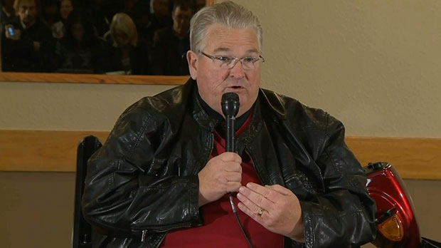 President of United Food and Commercial Workers Local 401 Doug O'Halloran speaks at a press conference in Brooks, Alta., on Wednesday, Oct. 10, 2012.