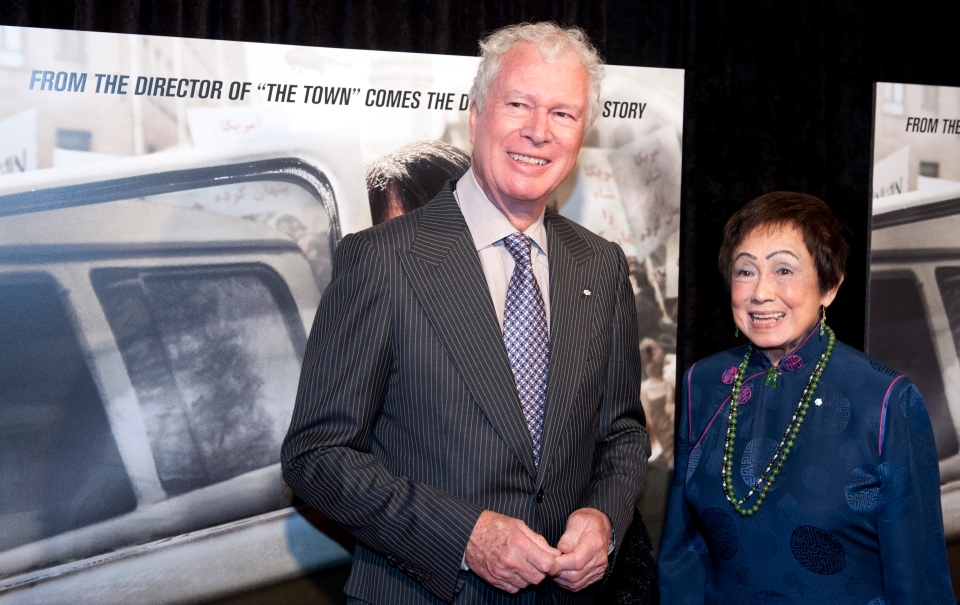 Former Canadian Ambassador Ken Taylor and his wife Pat, pose for photographers at the premiere of the film Argo in Washington, Wednesday, Oct. 10, 2012. (AP / Cliff Owen)