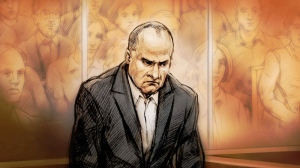 Col. Russell Williams is shown in a sketch during a court appearance in Belleville, Ont., Thursday, Oct. 7, 2010.  (Alex Tavshunsky / THE CANADIAN PRESS)