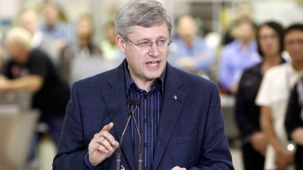 Prime Minister Stephen Harper speaks during a visit at Magellan Aerospace Corporation, in Winnipeg, Man. on Thursday Oct. 7, 2010. (Trevor Hagan / THE CANADIAN PRESS)