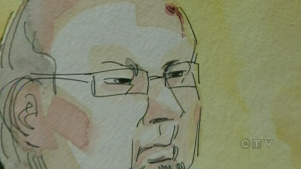 This sketch shows Richard Henry Bain with a fresh scrapes atop his bald scalp during his appearance at  in a  Montreal courtroom on Thursday, Oct. 11, 2012.