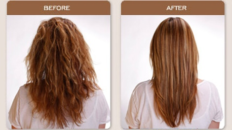 Before-and-after photographs using the Brazilian Blowout hair-straightening treatment. Oct. 7, 2010. (BrazilianBlowout.com)