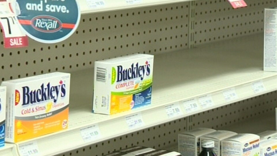 Packages of Buckley's Cold & Sinus medication is shown on a shelf at the Forest Hill Pharmacy in Kitchener, Ont. on Thursday, Oct. 11, 2012.