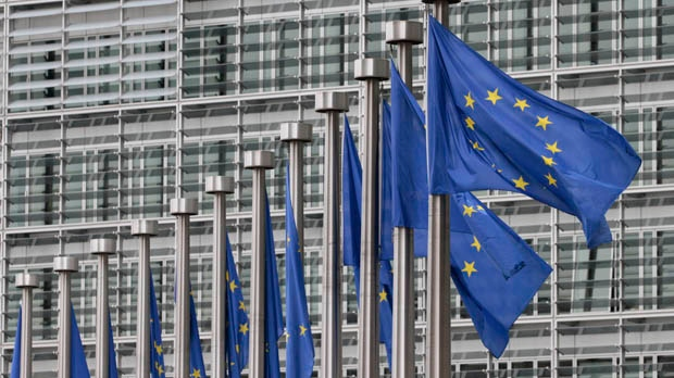 EU flags fly at the European Commission headquarters in Brussels on Monday, May 9, 2011. (AP / Yves Logghe)