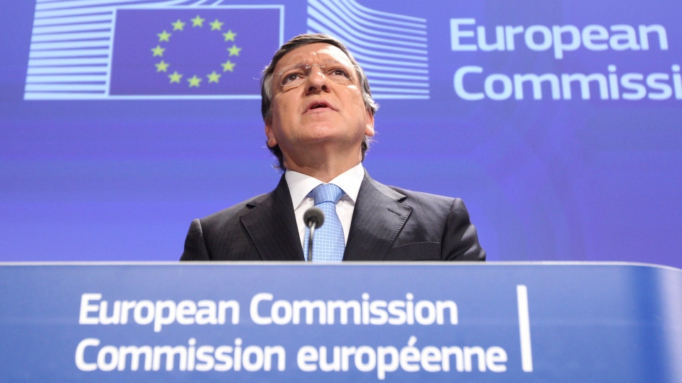 European Commission President Jose Manuel Barroso addresses the media after the 2012 Nobel Peace Prize was given to the EU, at the European Commission headquarters in Brussels, Friday, Oct. 12, 2012. (AP / Yves Logghe)