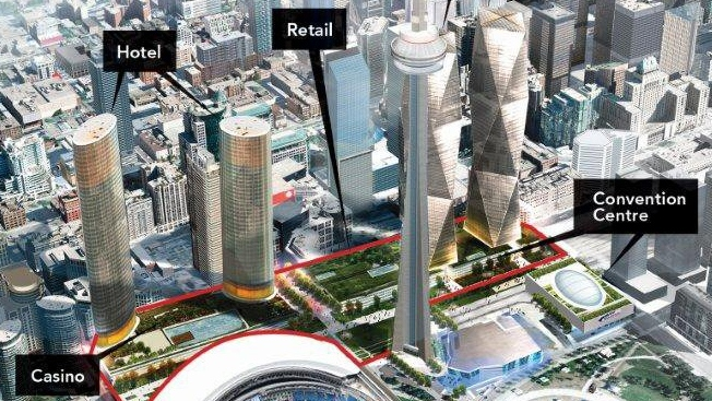 A rendering of the Oxford Properties Group proposal for a downtown Toronto casino. (Oxford Properties Group)