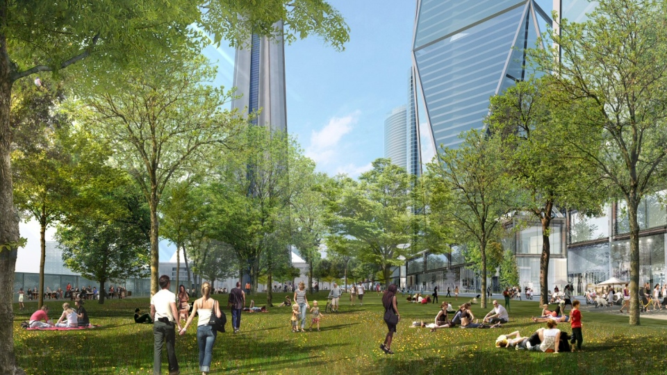 An artist's rendition of Oxford Place Park, part of a $3 billion casino proposal, is shown in this handout photo. . (Oxford Properties Group)