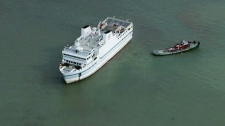 Ferry stuck in sandbar in Lake Erie
