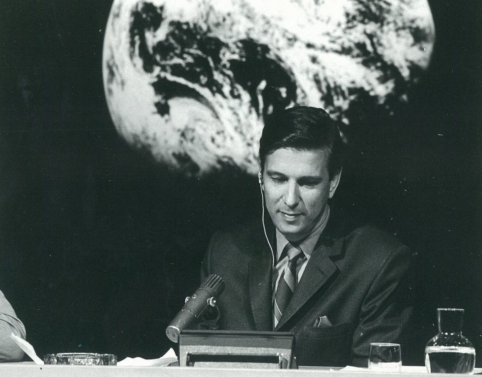Lloyd Robertson anchoring the Moon Landing in 1969.
