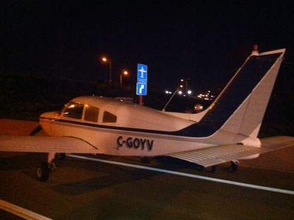 This is the small plane that has landed on the 407. (CTV/Tom Podolec)