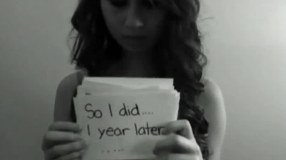 Amanda Todd, a bullied teen who committed suicide, is seen in this image taken from her YouTube video.