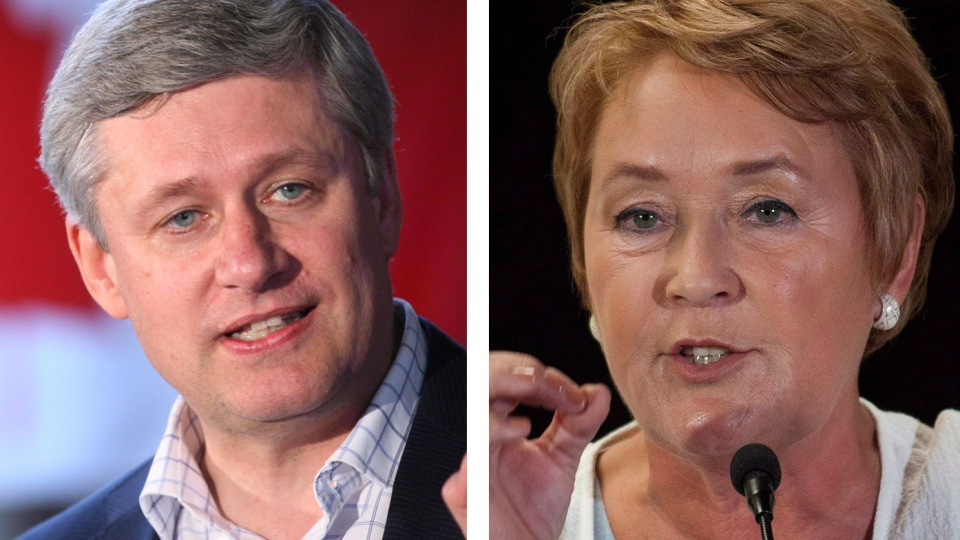 Prime Minister Stephen Harper and Quebec Premier Pauline Marois are shown in these 2012 file photo.(Adrian Wyld, Graham Hughes / THE CANADIAN PRESS)