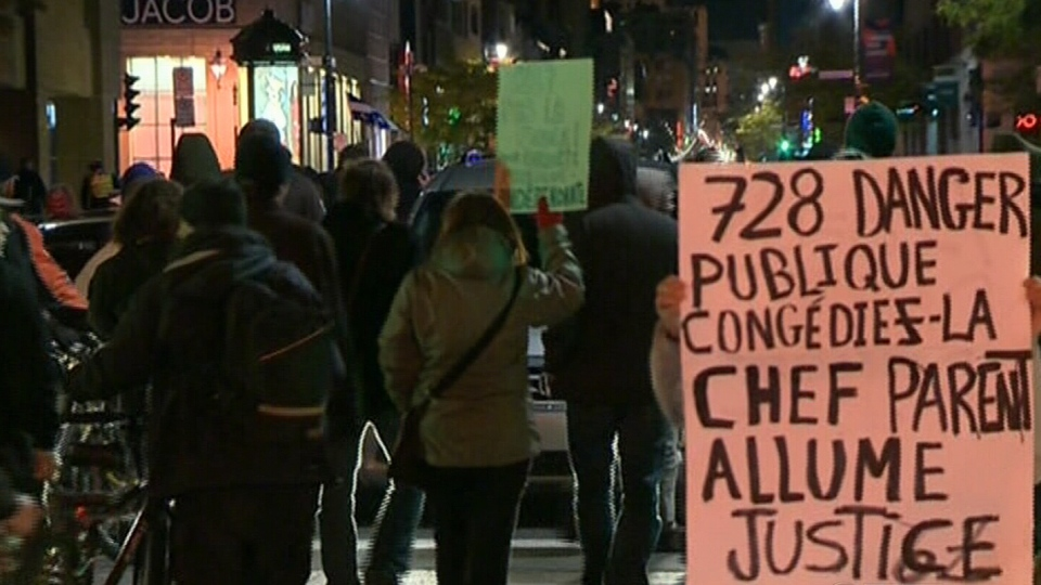 Crowds fill the streets calling for the firing of police officer 728 in Montreal, Friday, Oct. 12, 2012. (CTV Montreal)